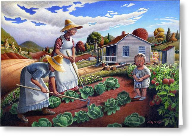 Amish Family Greeting Cards - Family Garden Country Farm Landscape - Square Format Greeting Card by Walt Curlee