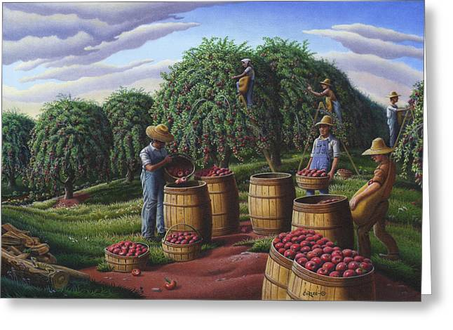 Amish Family Greeting Cards - Farm Americana - Autumn Apple Harvest Country Landscape - Square Format Greeting Card by Walt Curlee