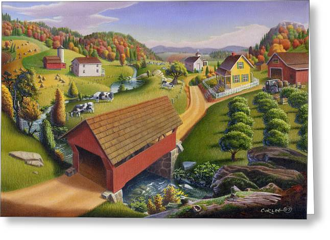 Covered Bridge Paintings Greeting Cards - Red Covered Bridge Country Farm Landscape - Square Format Greeting Card by Walt Curlee