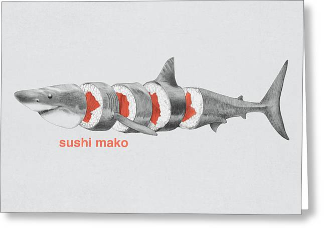 Fish Drawings Greeting Cards - Sushi Mako Greeting Card by Eric Fan