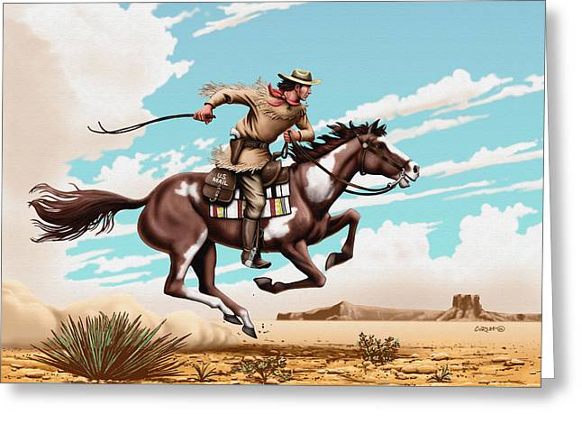 Express Paintings Greeting Cards - Pony Express Rider - Western Americana - Square Format Greeting Card by Walt Curlee