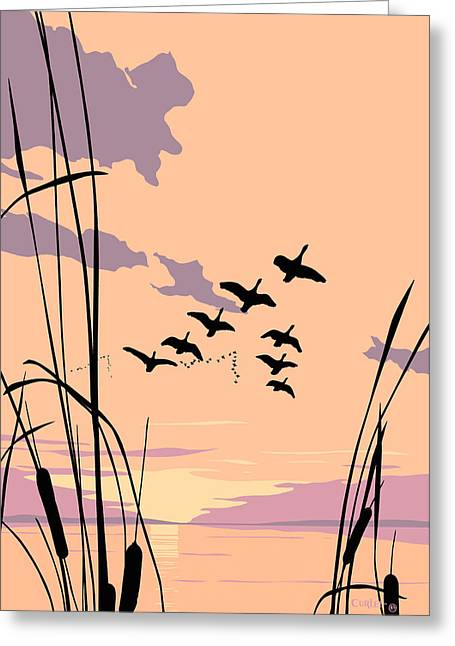 1980s Greeting Cards - Ducks Flying Over The Lake Abstract Sunset - Square Format Greeting Card by Walt Curlee