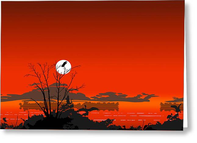 Tropical Birds Orange Sunset Abstract - Square Format Greeting Card by Walt Curlee