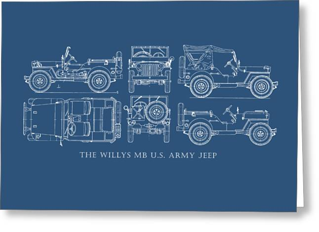 Blueprint Greeting Cards - The Willys Jeep Greeting Card by Mark Rogan