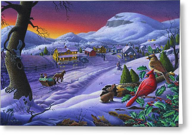 Winter Scenes Rural Scenes Greeting Cards - Winter Mountain Landscape - Cardinals on Holly Bush - Small Town - Sleigh Ride - Square format Greeting Card by Walt Curlee