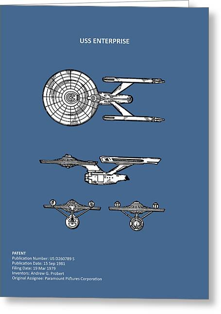 Star Trek - Uss Enterprise Patent Greeting Card by Mark Rogan