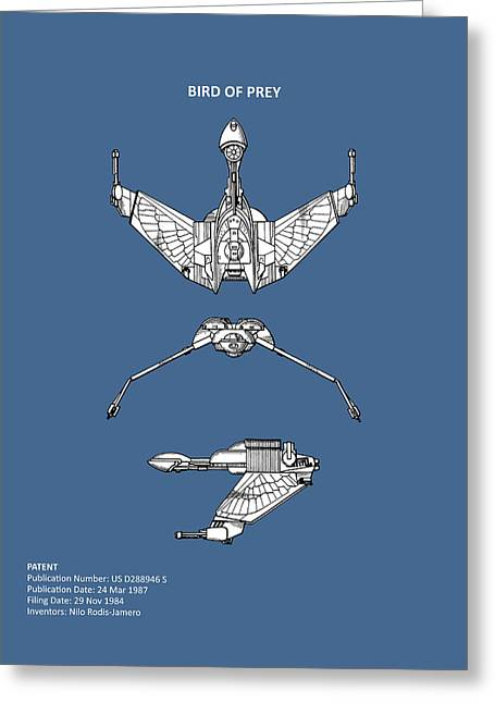 Star Trek - Bird Of Prey Patent Greeting Card by Mark Rogan