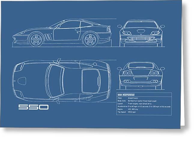 Ferrari 550 Blueprint Greeting Card by Mark Rogan