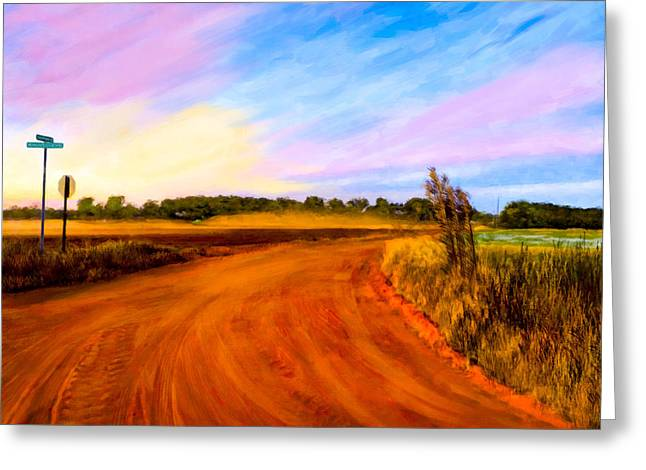 Red Clay Greeting Cards - Sunset On Old Dirt Roads In Georgia Greeting Card by Mark E Tisdale