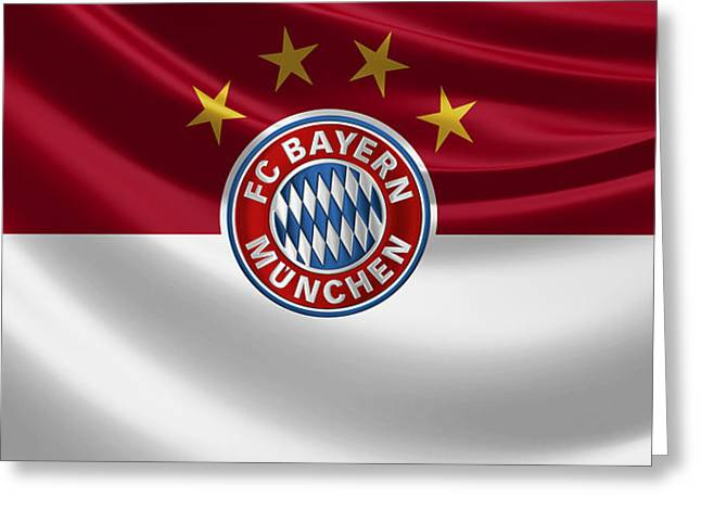 F C Bayern Munich - 3 D Badge Over Flag Greeting Card by Serge Averbukh