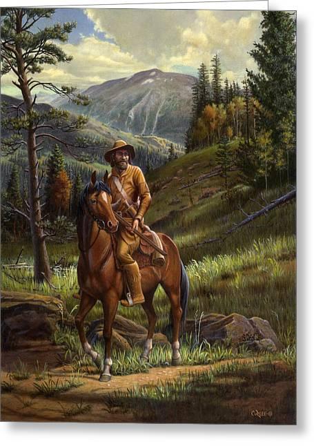 Jim Bridger Greeting Cards - Jim Bridger - Mountain Man - Frontiersman - Trapper - Wyoming Landscape Greeting Card by Walt Curlee