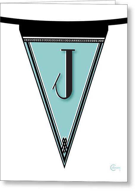 Pennant Deco Blues Banner Initial Letter J Greeting Card by Cecely Bloom