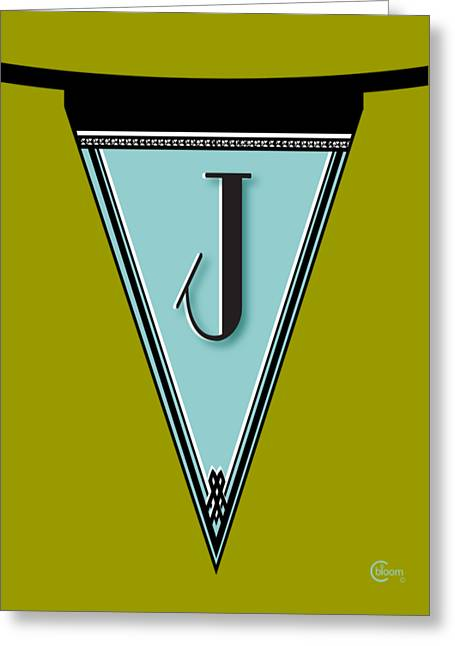 Letter J Greeting Cards - Manhattan 1920s Deco Blues Banner Monogram letter initial j Greeting Card by Cecely Bloom