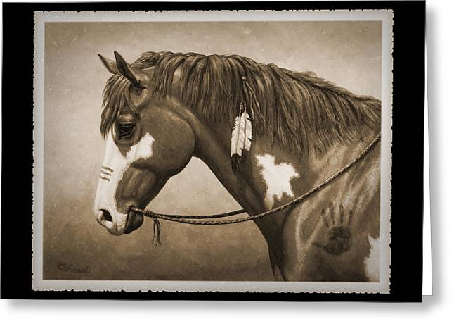Chestnut Horse Greeting Cards - Indian Pony War Horse Sepia Phone Case Greeting Card by Crista Forest