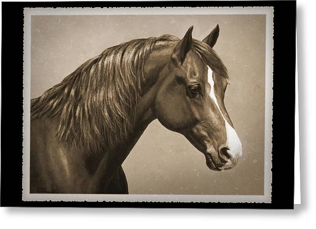 Horse Artist Greeting Cards - Morgan Horse Phone Case in Sepia Greeting Card by Crista Forest