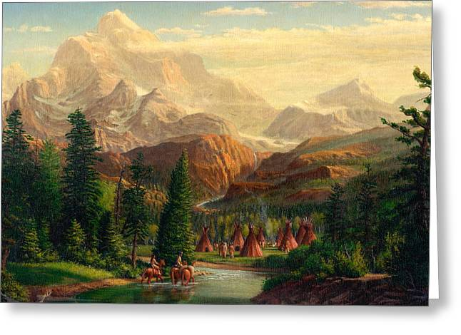 Best Sellers -  - Snow-covered Landscape Greeting Cards - Indian Village Trapper western mountain landscape oil painting - Native Americans americana stream Greeting Card by Walt Curlee
