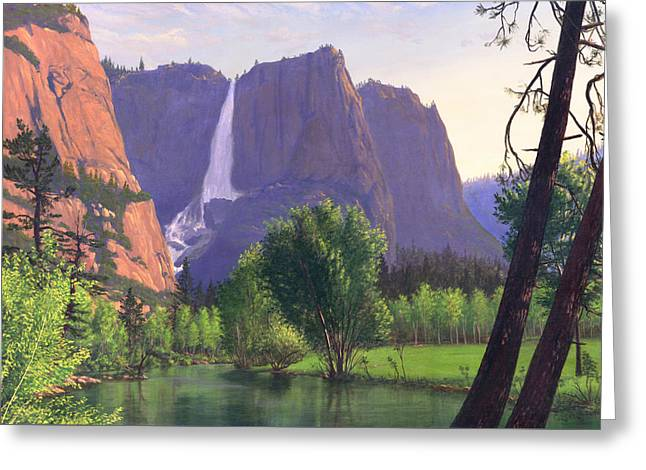Park Scene Paintings Greeting Cards - Mountains Waterfall Stream western mountain landscape oil painting Greeting Card by Walt Curlee