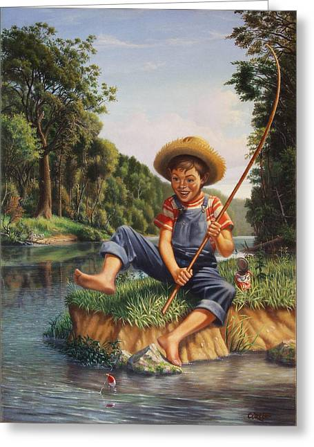 Grant Wood Greeting Cards - Boy Fishing In River Landscape - Childhood Memories - Flashback - Folkart - Nostalgic - Walt Curlee Greeting Card by Walt Curlee