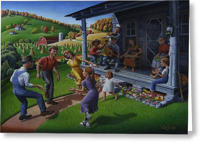 Americana Landscapes Greeting Cards - Porch Music and Flatfoot Dancing - Mountain Music - Farm Folk Art Landscape - Square Format Greeting Card by Walt Curlee