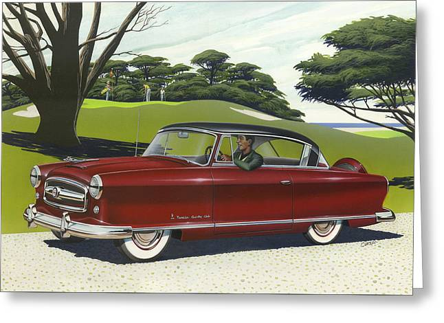 American Automobiles Paintings Greeting Cards - 1953 Nash Rambler car americana rustic rural country auto antique painting red golf Greeting Card by Walt Curlee