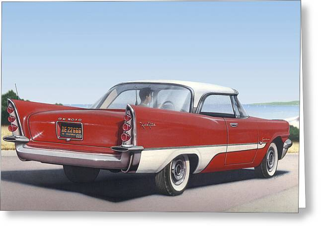 American Automobiles Paintings Greeting Cards - 1957 De Soto car nostalgic rustic americana antique car painting red  Greeting Card by Walt Curlee