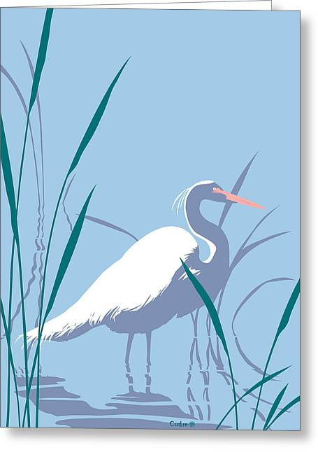 1980s Greeting Cards - abstract Egret graphic pop art nouveau 1980s stylized retro tropical florida bird print blue gray  Greeting Card by Walt Curlee