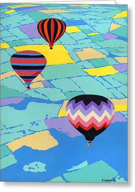 Abstract Hot Air Balloons - Ballooning - Pop Art Nouveau Retro Landscape - 1980s Decorative Stylized Greeting Card by Walt Curlee
