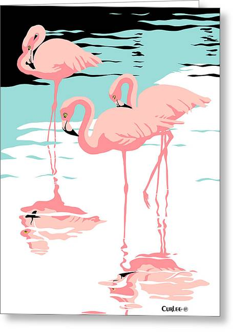 Pink Flamingos Tropical 1980s Abstract Pop Art Nouveau Graphic Art Retro Stylized Florida Print Greeting Card by Walt Curlee