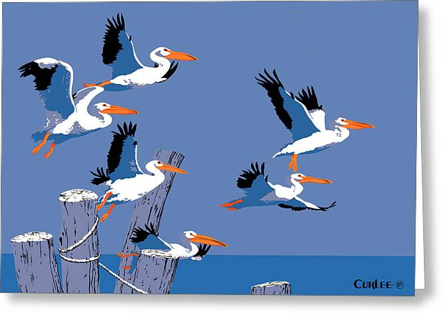 Beach Theme Abstract Greeting Cards - abstract Pelicans seascape tropical pop art nouveau 1980s florida birds large retro painting  Greeting Card by Walt Curlee