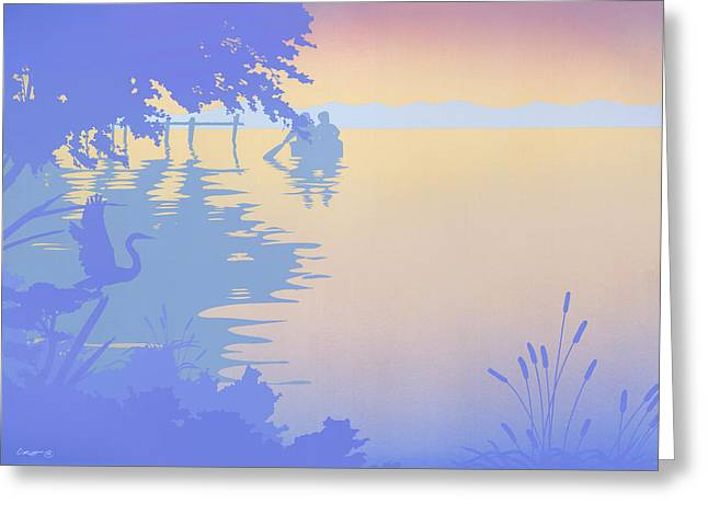 Water Themed Paintings Greeting Cards - abstract tropical boat Dock Sunset large pop art nouveau retro 1980s florida landscape seascape Greeting Card by Walt Curlee
