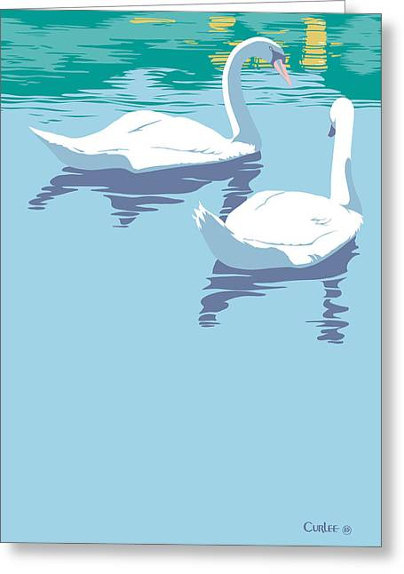 Nature Scene Paintings Greeting Cards - Abstract Swans bird lake pop art nouveau retro 80s 1980s landscape stylized large painting  Greeting Card by Walt Curlee