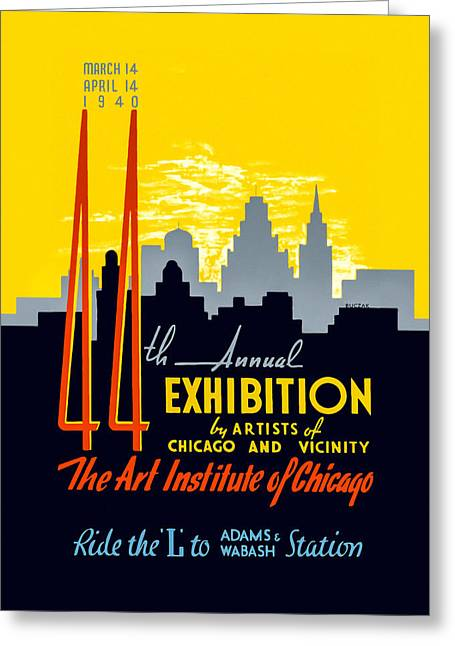1940s Poster Art Greeting Cards - 44th Annual Exhibition by Artists of Chicago and Vicinity Greeting Card by Mark E Tisdale