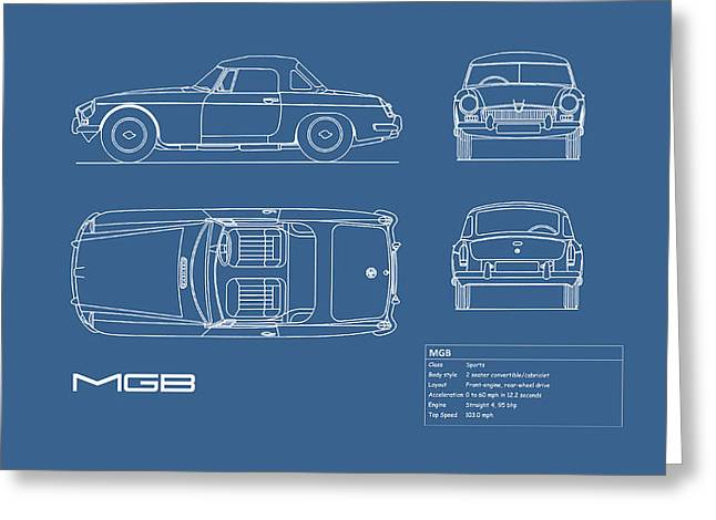Mgb Blueprint Greeting Card by Mark Rogan