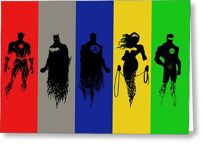 Justice League Greeting Cards - Justice League Silhouettes Greeting Card by Ian  King