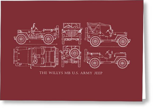 Willys Greeting Cards - The Willys Jeep - Red Greeting Card by Mark Rogan