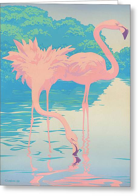 Square Format - Pink Flamingos Retro Pop Art Nouveau Tropical Bird 80s 1980s Florida Painting Print Greeting Card by Walt Curlee