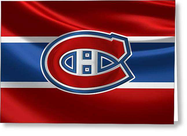 Montreal Canadiens - 3 D Badge Over Silk Flag Greeting Card by Serge Averbukh