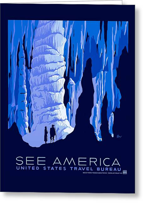 Cavern Greeting Cards - See America - Vintage 1930s Travel Poster Greeting Card by Mark E Tisdale