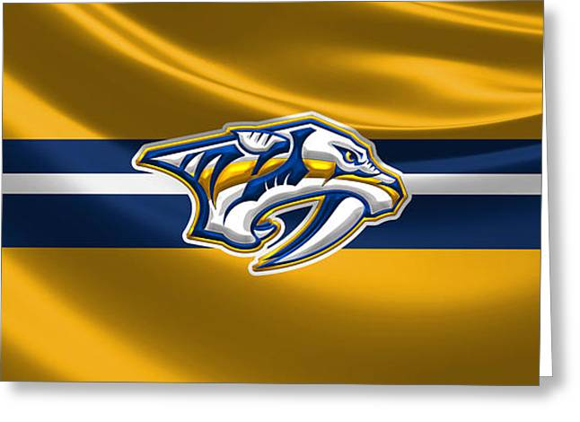 Nashville Predators - 3 D Badge Over Silk Flag Greeting Card by Serge Averbukh