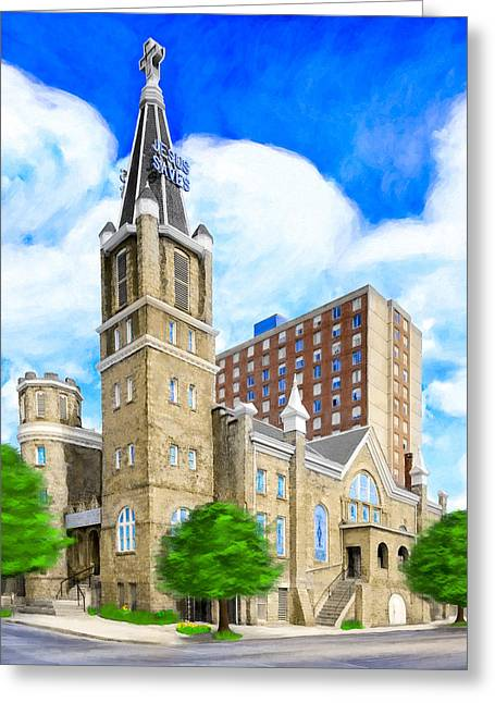 National Historic District Greeting Cards - Big Bethel In Sweet Auburn - Atlanta Greeting Card by Mark E Tisdale