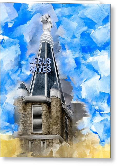 Civil Rights Greeting Cards - Jesus Saves In Sweet Auburn Greeting Card by Mark E Tisdale