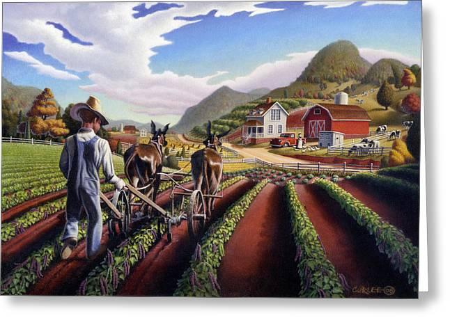 Appalachian Folk Art Summer Farmer Cultivating Peas Farm Farming Landscape Appalachia Americana Greeting Card by Walt Curlee