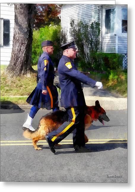 Shepherds Greeting Cards - Policeman and Dog in Parade Greeting Card by Susan Savad