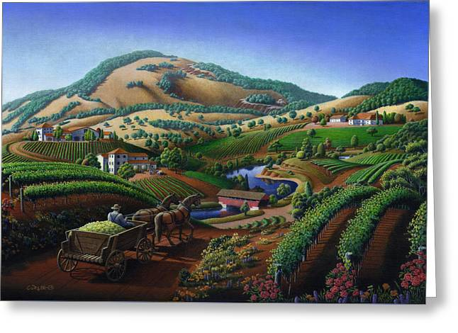 Sonoma County Vineyards. Greeting Cards - Old Wine Country Landscape Painting - Worker Delivering Grape To The Winery -Square Format Image Greeting Card by Walt Curlee