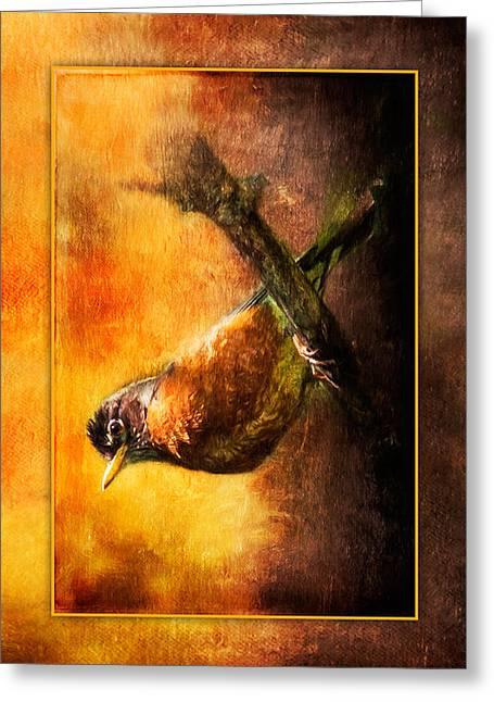 Mama Robin At Sunrise  Greeting Card by Christina VanGinkel