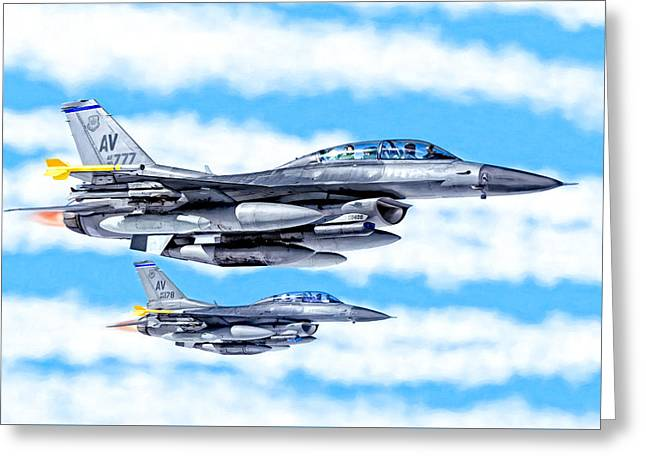 Jet-propelled Greeting Cards - F-16 Fighting Falcons In Flight Greeting Card by Mark E Tisdale