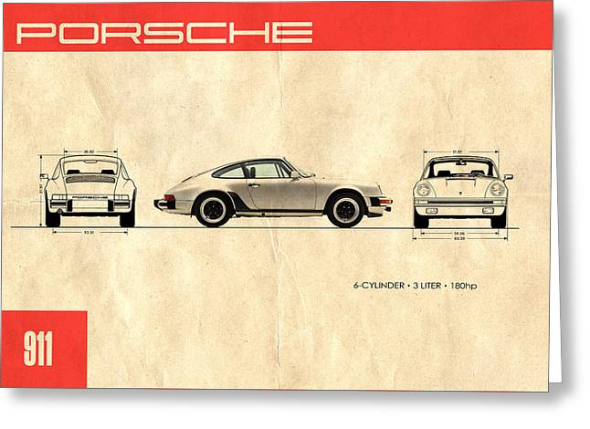 Brochure Greeting Cards - The Porsche 911 Greeting Card by Mark Rogan