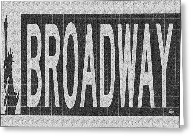 Liberty Avenue Paintings Greeting Cards - Broadway Deco Swing street sign  Greeting Card by Cecely Bloom