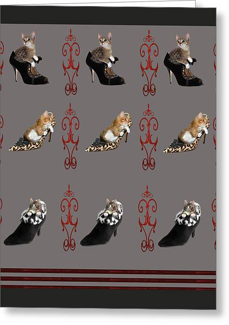 Digital Altered Greeting Cards - Kittens in designer ladies Shoes Greeting Card by Gina Femrite