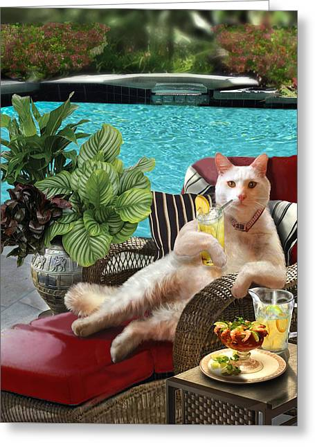 Garden Scene Greeting Cards - Funny Pet  Vacationing Kitty Greeting Card by Gina Femrite
